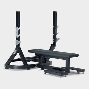 flat weight training bench / with barbell rack