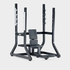 military weight training bench / with barbell rack