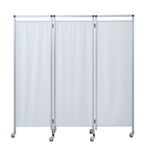 hospital screen on casters / 3-panel / with curtain