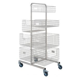 sterilization trolley / transport / for sterilization baskets / with basket