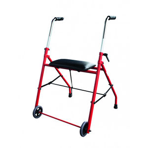 height-adjustable walker / folding / 2-wheel / with seat