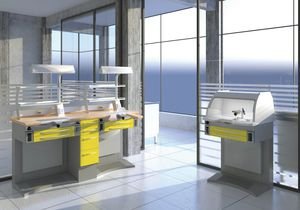 modular dental laboratory workstation / with light / with hood / with sink