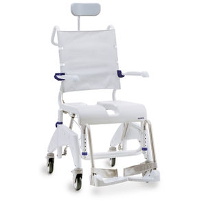 shower chair / on casters / with cutout seat