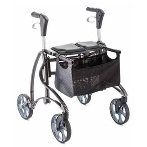 4-caster rollator / with basket / folding / height-adjustable