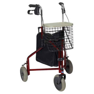 3-caster rollator / with basket / height-adjustable