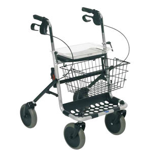 4-caster rollator / with basket / height-adjustable