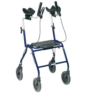 4-caster rollator / with seat / height-adjustable