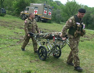 stretcher trolley for military applications