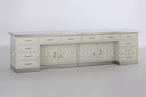 work table / rectangular / stainless steel / with drawers