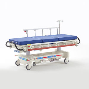 emergency stretchers / on casters / X-ray transparent / with adjustable backrest