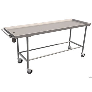 stainless steel embalming table / on casters