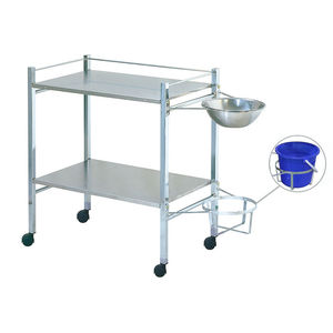 transport trolley / for instruments / 2-shelf / with bowl