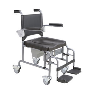 commode chair with armrests / on casters / with bucket / with footrest