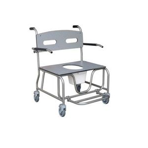 commode chair with bucket / on casters / with cutout seat / with footrest