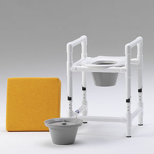 raised toilet seat with armrests / height-adjustable