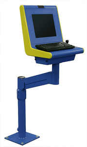floor-mounted monitor support arm / medical / with keyboard arm / articulated