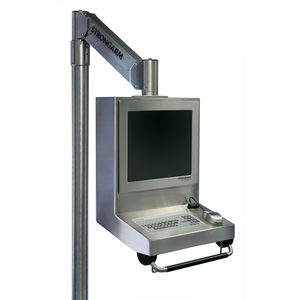 floor-mounted monitor support arm / pole-mounted / medical / stainless steel
