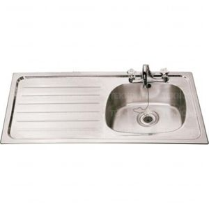 laboratory sink / 1-station / stainless steel / with drainboard