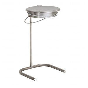 waste bag holder / mobile / stainless steel / with lid