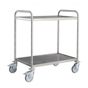 transport trolley / for general purpose / with shelf / stainless steel