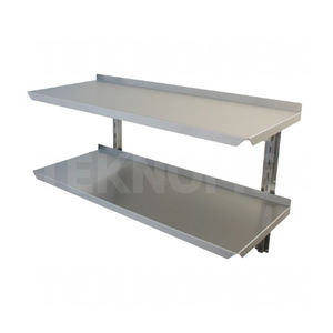 2-shelf shelving unit / wall-mounted / stainless steel