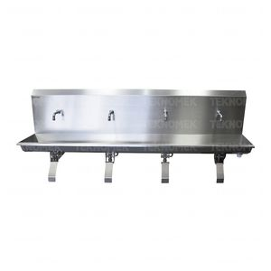 medical sink / 4-station / stainless steel / knee-operated