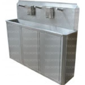 medical sink / 4-station / stainless steel / infrared-operated