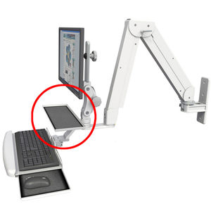 wall-mounted monitor support arm / medical / dental / with keyboard arm