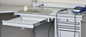 dental laboratory workstation with shelves