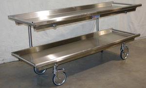2-shelf shelving unit / mortuary / open-structure / mobile