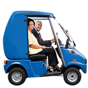 4-wheel electric scooter / with cabin / two-seater