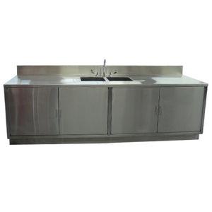 worktop with sink / with door / pharmacy / stainless steel