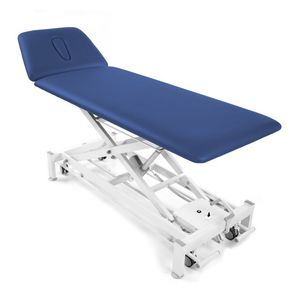 electric massage table / height-adjustable / on casters / 2-section