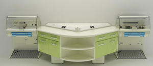 double dental laboratory workstation / with footrest
