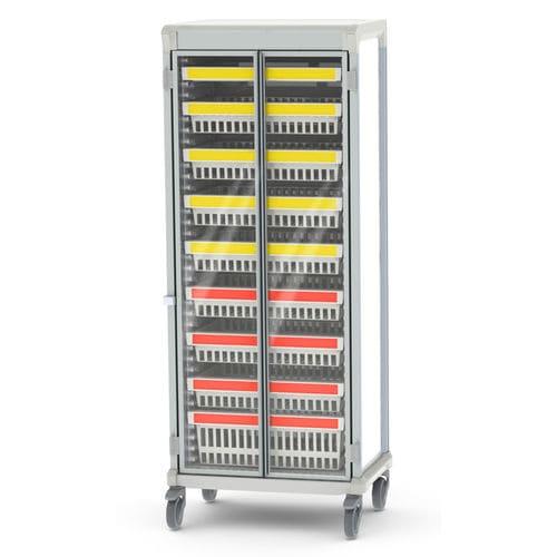 storage cart / for medical devices / 2-door / aluminum