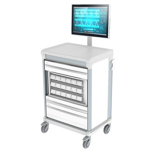 medicine distribution computer trolley
