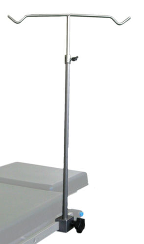 table-mounted IV pole / 2-hook / for operating tables / telescopic