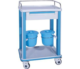 transfer trolley / dressing / with bucket / with drawer