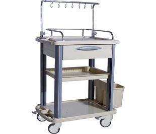 transfer trolley / dressing / with drawer / 3-tray