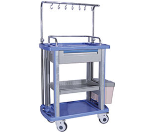 treatment cart / with side bin / with drawer / with IV pole