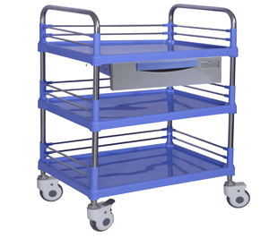 transport cart / dressing / with drawer / 3-tray
