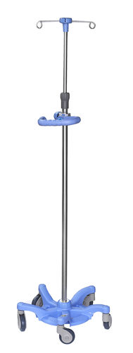 IV pole on casters / 4-hook / telescopic / stainless steel