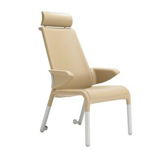 chair with armrests / on casters / with high backrest