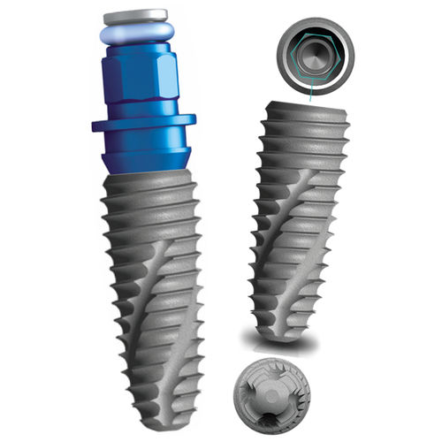 cylindro-conical dental implant / anatomical / titanium / internal