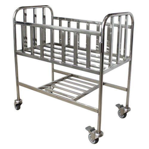 fixed-height hospital bassinet / stainless steel / on casters