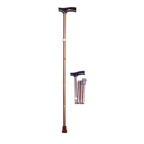T-handle walking stick / height-adjustable / folding