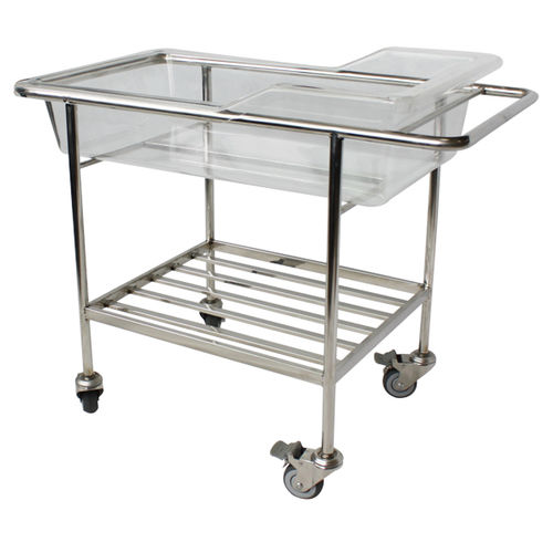 transparent hospital bassinet / stainless steel / on casters