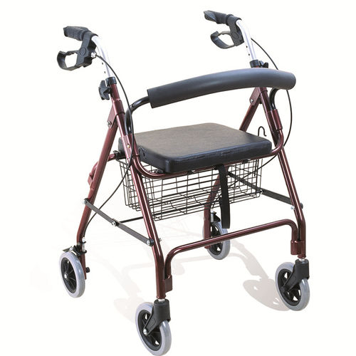 4-caster rollator / height-adjustable / with seat / with basket