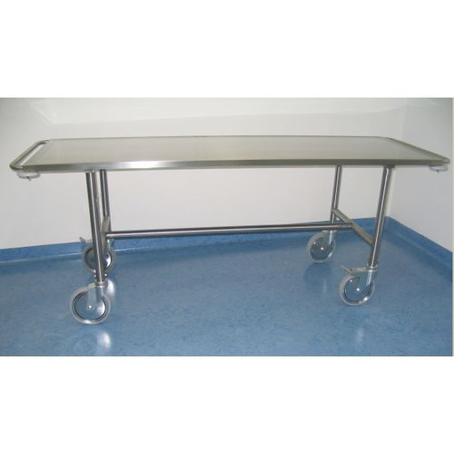 transport stretcher trolley / manual / mortuary / stainless steel