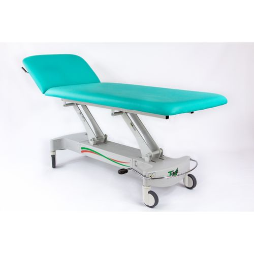 hydraulic examination table / on casters / with adjustable backrest / 2-section